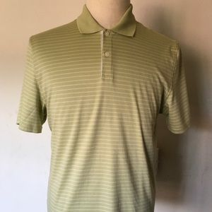 Calvin Klein Mens L Green Striped Polo Shirt